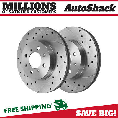 Front Pair (2) Silver Drilled Slotted Rotors 4 Stud Fits 90-04 2005 Honda Civic