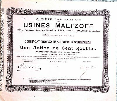 Russia / France 1917 Share Societe Par Actions Des Usines Maltzoff - Paris