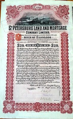 RUSSIA ST. PETERSBURG LAND & MORTGAGE CO. Ltd. 5% DEBENTURE FOR £20 1912