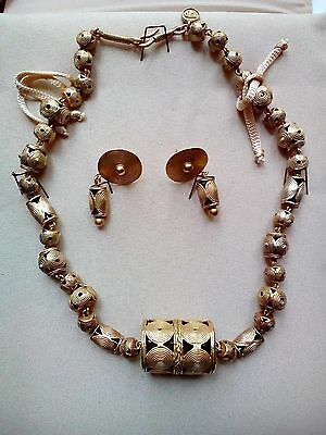 Galeria Cano gold plated pre-columbian replica necklace + earrings set