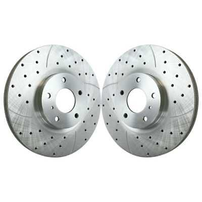 Front Pair Performance Drilled and Slotted Zinc Brake Rotors w/Lifetime Warranty