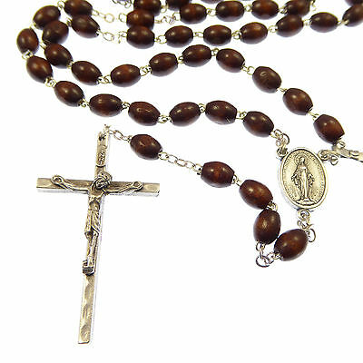 Extra strong brown oval wooden rosary beads in gift box mens + Miraculous center