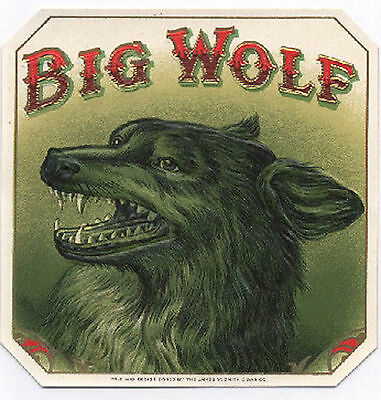 Awesome BIG BAD  WOLF Antique Cigar Box Label T Shirt SMALL-XXXLARGE (F)