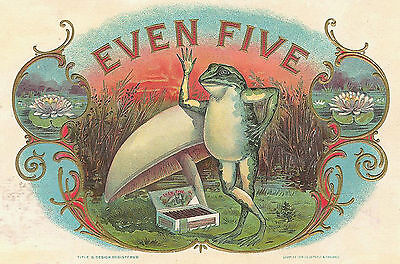 EVEN FIVE Antique Cigar Label T Shirt FROG & TOAD STOOL SMALL-XXXLARGE