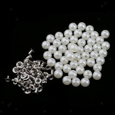 50pcs Pearl Rivets Studs Button for Clothes Bracelet Bag Leather Craft 8mm