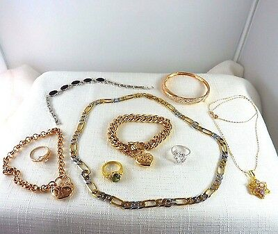 Bulk lot assorted Rings, Necklace, Bracelets, Fill gold, Imitation Gemstones x9