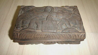 Vintage! Hill Tribe 6 Elephant Opium weight Scale & Handmade Wood carving box