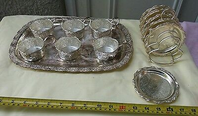 Vintage serving tray with x6 punch type cups and coasters. Seem to be zinc?