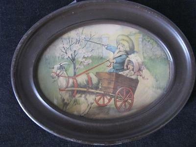 Goat Cart with Children Color Print in round frame circa 1920