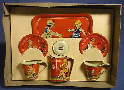 Altes Blech Kinder Kaffee Tee Service Puppenstube 20's Child Doll Tin Toy E171