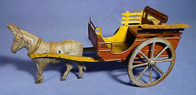 Charles Rossignol Blech Kutsche Esel ancien tole 1900 Tin Toy Coach Donkey F178