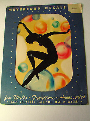 Vintage Art Deco Black SILHOUETTE NUDE w/ BUBBLES  Meyercord DECAL