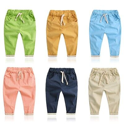 Baby Kids Boys Casual Harem Pants Toddler Girls Long Cotton Solid Trouser 2-7 Y