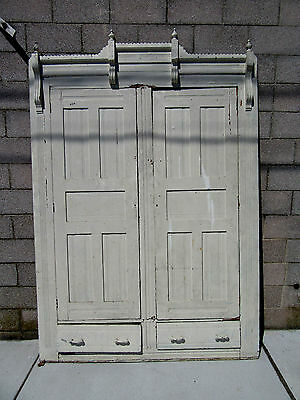 ~ ANTIQUE CARVED OAK CLOSET FRONT BUILT IN ARMOIRE 66 x 97 ARCHITECTURAL SALVAGE