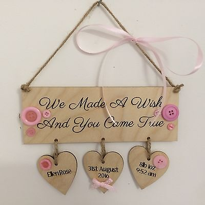 New Baby girl gift personalised name wooden heart plaque sign shabby chic gift