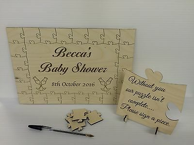 Personalised baby shower wooden jigsaw guest book puzzle keepsake gift