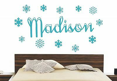 Frozen Personalised Snow Name Snowflakes Disney Wall Art Decal Sticker Bedroom
