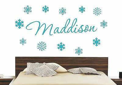 Frozen Personalised Name Cor Snowflakes Disney Wall Art Decal Sticker Bedroom