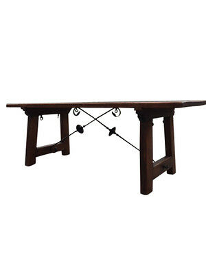 Antique Spanish Dining Table with Iron Stretchers, Circa 1920's