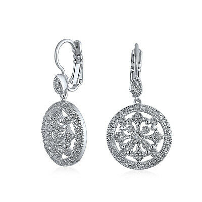 Bling Jewelry CZ Pave Circle Art Deco Style Dangle Earrings Rhodium Plated Brass