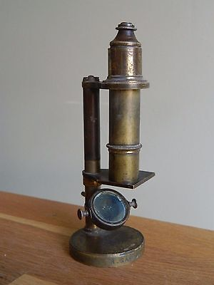 Antique small brass student microscope