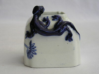 Antique Royal Worcester blue lizard inkwell or brush cleaning pot