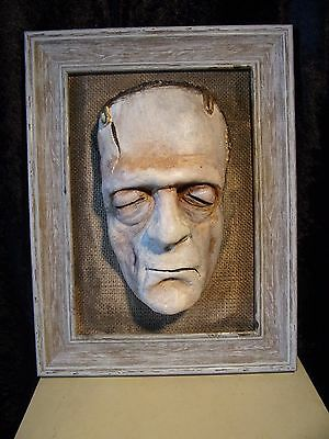FRAMED PAINTED FRANKENSTEIN ( Boris Karloff as the Groom ) DEATH MASK life sized