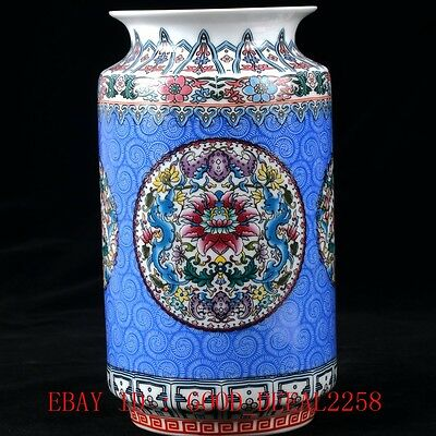 Chinese Famille Rose Porcelain Hand-painted Flower Vase W Qing Qianlong Mark