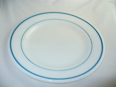 Pyrex Corning White Milk Glass Teal Stripes Plate Restaurant Ware