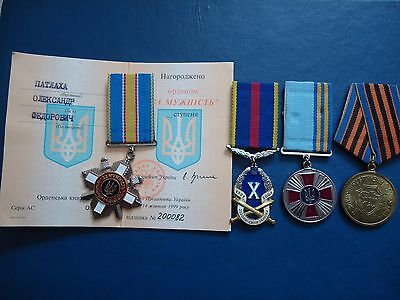 """UKRAINE MEDAL Order """"For courage"""" the 3rd Class N 200082 with Document + medals"""