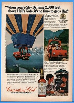 1973 Canadian Club Sky Driving Hot Air Balloon Hells Gate Fraser Canyon Photo Ad