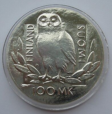 Finland Silver 100 Markkaa 1990 Helsinki University - OWL UNC Condition !!!