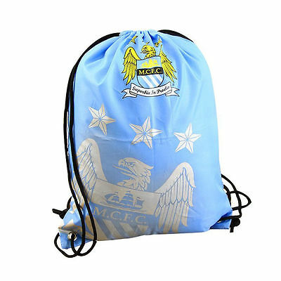 Official Manchester City FC Foil Print Drawstring Gym Bag Swimming Sports School