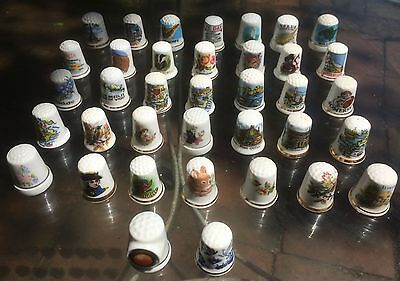 Vintage Collection of 37 Ceramic Sewing Thimbles