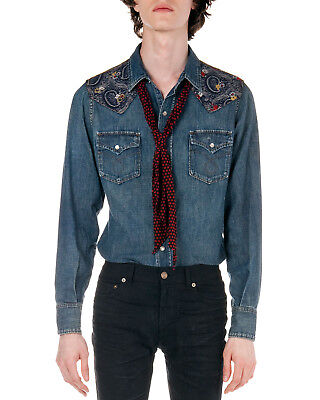 7798a0da072 NWT SAINT LAURENT PARIS Bandana Patch Denim Western Shirt, L ...
