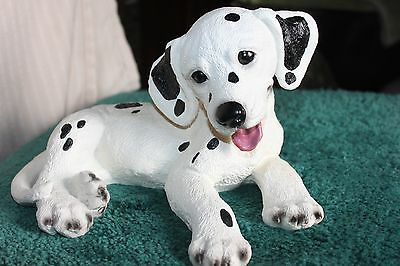 "DALMATIAN PUPPY DOG FIGURINE/STATUE  LAYING DOWN  6""Tall 10""Long"