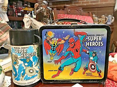 Vintage 1976 Marvel Comics Super Heroes Metal Lunchbox with Thermos