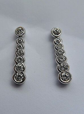 Diamond Drop Earrings in 18k White Gold