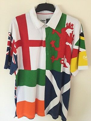Cotton Traders Rugby Polo Shirt, World Nations Size L