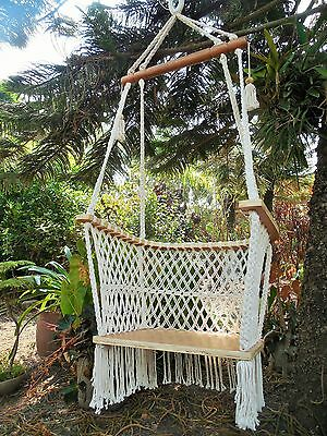Adult Macrame Hanging Chair Handmade Hammock Swing Indoor Outdoor Beige Color