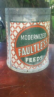 Old Antique Galvanized Faultless Feed Hanging Sign Feeder--Farm Chicken Rare