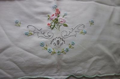 Vintage Embroidered Pillow Case/Sham/Slip - Country Cottage/Granny Chic