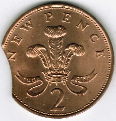 British Mint Error Coin 2 Pence 1971 Clipped Planchet