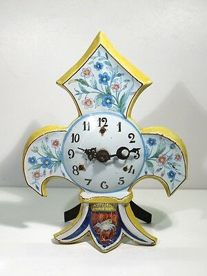 Rare 19th Century Antique Handpainted French Vannes Faience Pottery Clock.
