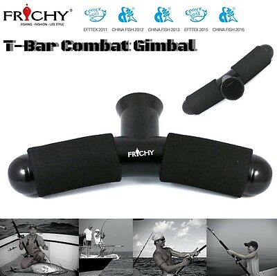 Frichy Anodized Aluminium T-Bar Fishing Combat Gimbal Black