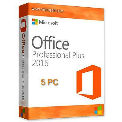 Microsoft Office Professional Plus 2016 Pro Digital License Download Key 5 PC