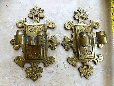 Vintage Pair of Brass Wall Fittings or Hinges ? / Reclamation