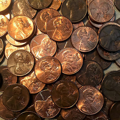 FULL ROLL 50X Masonic Pennies Lincoln Penny Freemason Coins Square & Compass