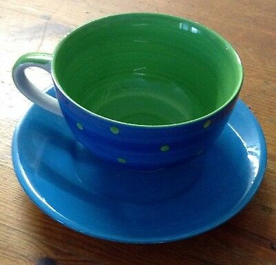 Pretty Blue & Polka Dot Tea Cup & Saucer By Whittard Of Chelsea