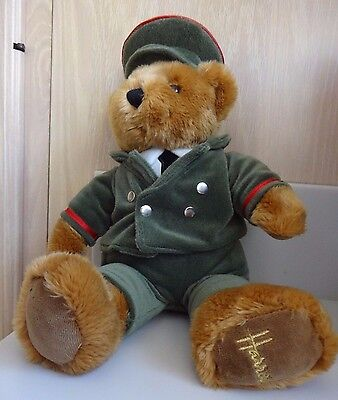 Harrods Cinnamon Teddy Bear Door Man Green Man seated 11""